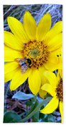 Bee On Wild Sunflowers Beach Towel