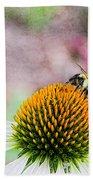 Bee On Yellow Coneflower Beach Towel