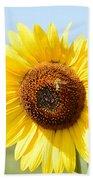 Bee On Yellow Sunflower Beach Towel