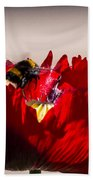 Bee Right Back With Red Flower Beach Towel