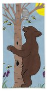 Bees And The Bear Beach Towel