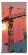 Behind The Crane A Hunter's Moon Rises II Beach Towel
