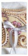 Beige-white Wedding Ring Pillow Beach Towel