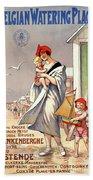 Belgium Ostende Vintage Travel Poster Restored Beach Towel