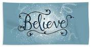 Believe Winter Art Beach Sheet