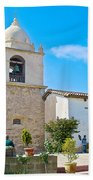 Bell Tower  In Carmel Mission-california  Beach Towel