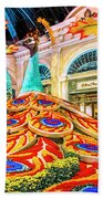 Bellagio Conservatory Fall Peacock Display Side View Wide 2 To 1 Ratio Beach Towel
