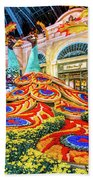 Bellagio Conservatory Fall Peacock Display Side View Wide 2017 Beach Towel