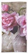 Belle Fleur Pink Peonies Beach Towel