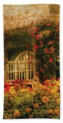 Bench - The Rose Garden Beach Towel