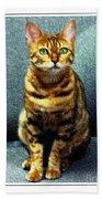 Bengal Cat Digital Oil Pastel Beach Towel