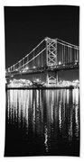 Benjamin Franklin Bridge - Black And White At Night Beach Towel