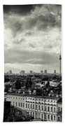 Berlin Skyline And Roofscape -black And White Beach Towel