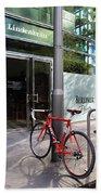 Berlin Street View With Red Bike Beach Towel by Ben and Raisa Gertsberg