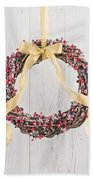 Berry Decorated Wreath Beach Towel