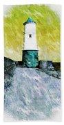 Berwick Lighthouse As Graphic Art. Beach Towel