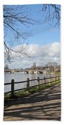 Beside The Thames At Hampton Court London Uk Beach Towel