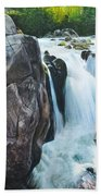Betws-y-coed Waterfall In North Wales Beach Towel