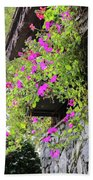 Beutiful Flowers Hang The Wall . Beach Towel