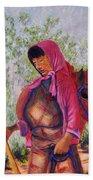 Bhutan Series - Woman With The Horse Beach Towel
