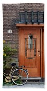 Bicycle And Wooden Door Beach Towel