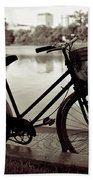 Bicycle By The Lake Beach Towel