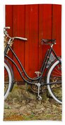Bicycle In Front Of Red House In Sweden Beach Towel