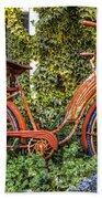 Bicycle In The Garden Beach Towel