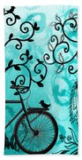 Bicycle In Whimsical Forest Beach Sheet
