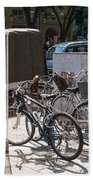 Bicycle Parking And Smoking Station In Tokyo Japan Beach Towel