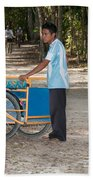 Bicycle Taxi Inside The Coba Ruins  Beach Towel
