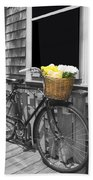 Bicycle With Flower Basket Beach Towel