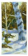 Big Birches In Winter Beach Towel