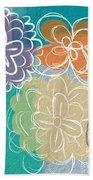 Big Flowers Beach Towel by Linda Woods