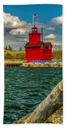 Big Red Lighthouse In Michigan Beach Towel