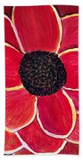 Big Red Zinnia Flower Beach Towel