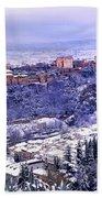 Big Snow In The Alhambra Granada  Beach Towel