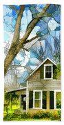 Big Tree Standing Tall In The Front Yard Beach Towel