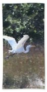 Big White Bird Flying Away Beach Towel
