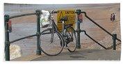 Bike Against Railings Beach Towel