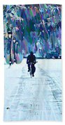 Bike Riding In The Snow Beach Towel by Bill Cannon