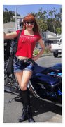 Biker Girl. Model Sofia Metal Queen Beach Towel