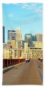 Biking On The Stone Arch Bridge Beach Towel