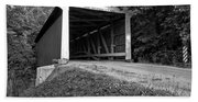 Billie Creek Covered Bridge Black And White Beach Sheet