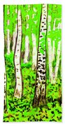 Birch Forest, Painting Beach Towel
