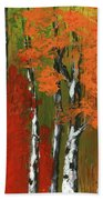 Birch Trees In An Autumn Forest Beach Towel