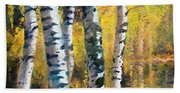 Birch Trees In Golden Fall Beach Towel