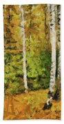 Birches And Spruces Beach Towel