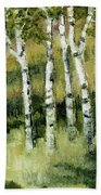 Birches On A Hill Beach Towel