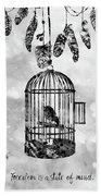 Bird In A Cage-black Beach Towel